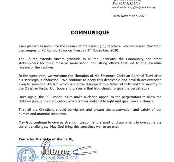 The Communique of the Moderator PCC about the released teachers in Kumbo and Cardinal Tumi