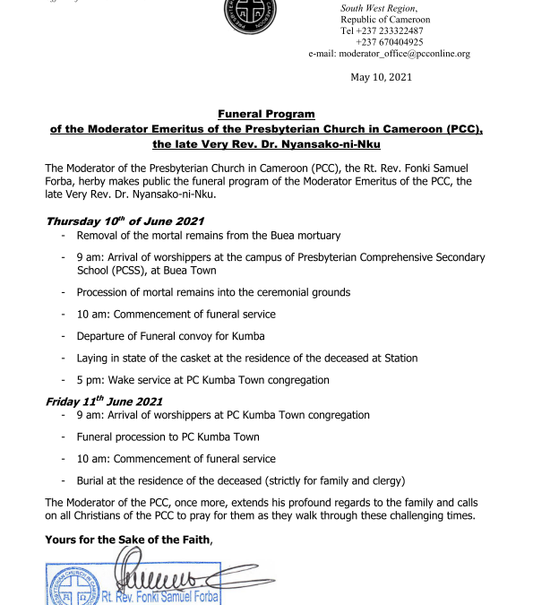 Funeral Program of the Moderator Emeritus of the Presbyterian Church in Cameroon (PCC)