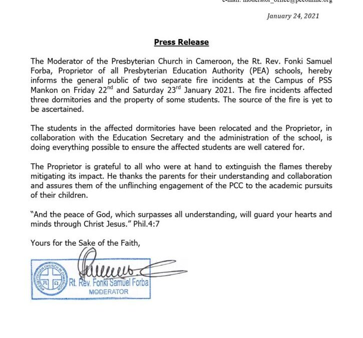 Press Release from the office of the PCC Moderator on the PSS Mankon saga